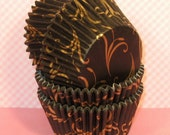 Black Scroll with Gold Scrolls Cupcake Liners  (40)