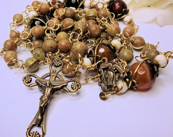 Catholic Rosary, Mary and Jesus, Scrolled Center, Bronze Crucifix