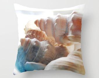 Summer photo pillow, shells pillow, beach theme patio pillow beach shells pillow, summer beach pillow beach house decor, summer beach house,