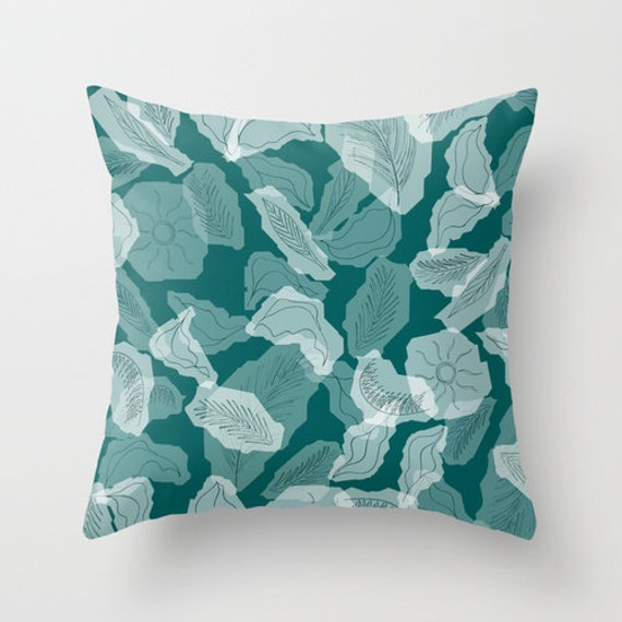 teal foliage pillow teal home decor leaf pattern