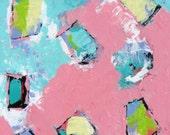 Pink Abstract Original Acrylic Painting on canvas, Nursery Decor, Wall Art