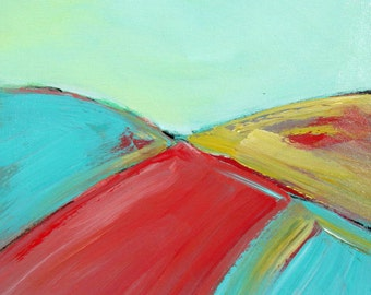 "Original Acrylic Painting, Modern Landscape on canvas, Abstract art, 18"" x 18"", Turquoise and coral, Modern Home Decor, Wall Art, gift idea"