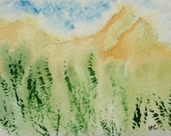ACEO Original Watercolor Mountains