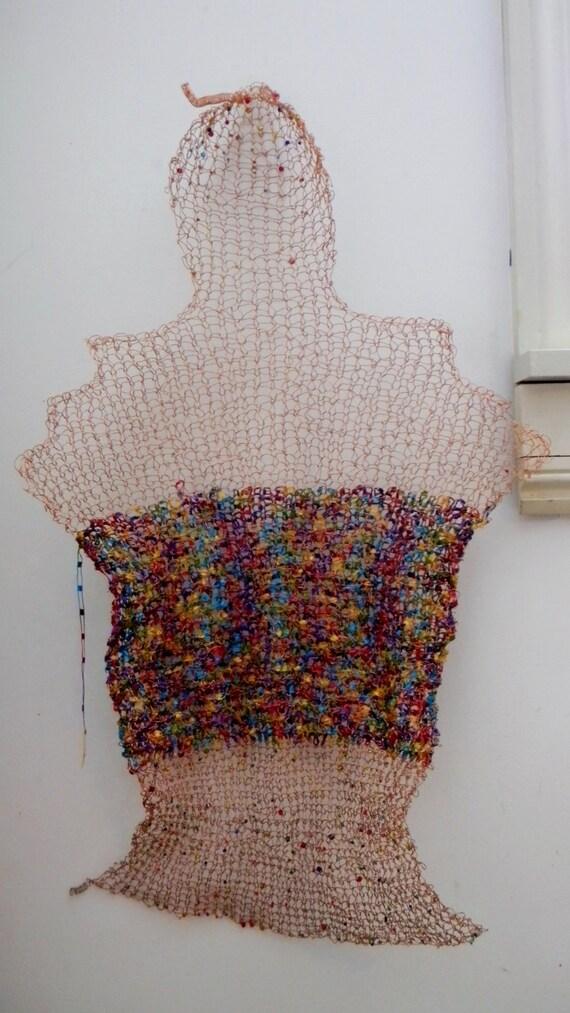 Merbaby Deep Sea Diving Cloak...knit wire sculptural wall hanging
