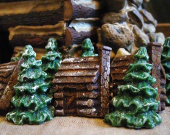 Beeswax Melts, Rustic Log Cabins & Snowy Trees, Scented Wax Melts Wax Tarts Primitive Bowl Filler Primitive Decor Christmas Scented Melts