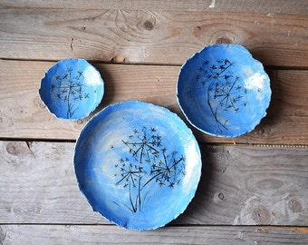 Three nested bowls turquoise with dandelions - Stoneware (grès) Bowl