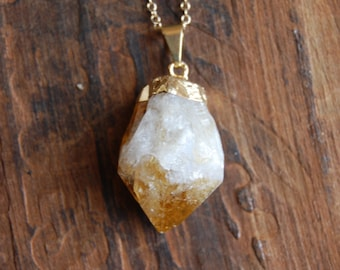 Gold Dipped Raw Citrine Nugget Necklace with thin GoldChain