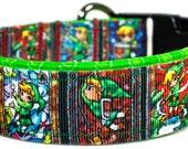 Vivid Collars Fabric Dog Collar Nintendo Legend of Zelda Wii gaming Logo accessory USA  handmade New martingale or Buckle NES
