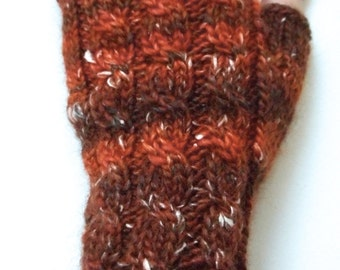 Handknit Fingerless Gloves for Women, Teen Girls, Texting Gloves, Hand Warmers, one of a kind, cable pattern, shades of rust, wool and silk