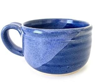 Stoneware Pottery Mug. Cobalt Blue. Blue Speckled. Delft Blue. Denim. Indigo. Coffee, Tea, Cocoa. 12 oz. Hand Thrown.