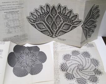 Crochet Patterns 3 Alice Brooks 7471, American Weekly 3176 Vintage Needlework Pattern Pineapple Doily Dresser Scarf Household Arts Original