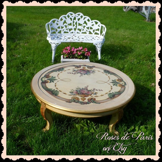 Gold Shabby Chic Coffee Table: Vintage French Coffee Table Shabby Hand Painted Roses Italian