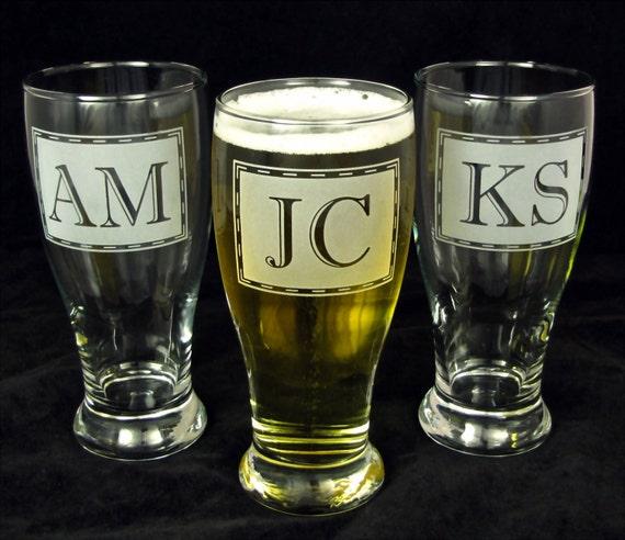 4 Pilsner Glasses, Monogrammed, Etched Glass, Groomsmen Gifts for Men