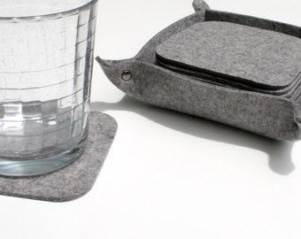 10 Square Felt Coaster Set with Holder 3mm Thick Merino Wool Felt Fabric Coasters Ecofriendly Housewarming Hostess Gift Felted Barware Gray