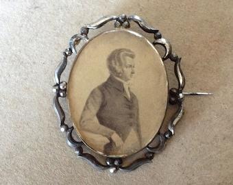 Antique cut steel portrait brooch