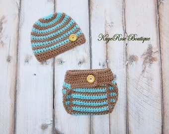 Newborn Baby Boy Crochet Hat and Diaper Cover Set Teal and Brown Stripes