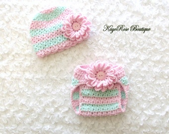 Newborn Baby Girl Crochet Flower Hat and Diaper Cover Set Pink and Aqua Stripes