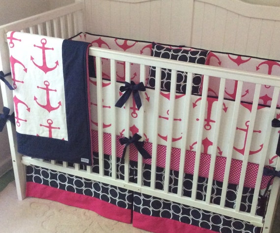Hot pink and navy anchor crib bedding set made to order