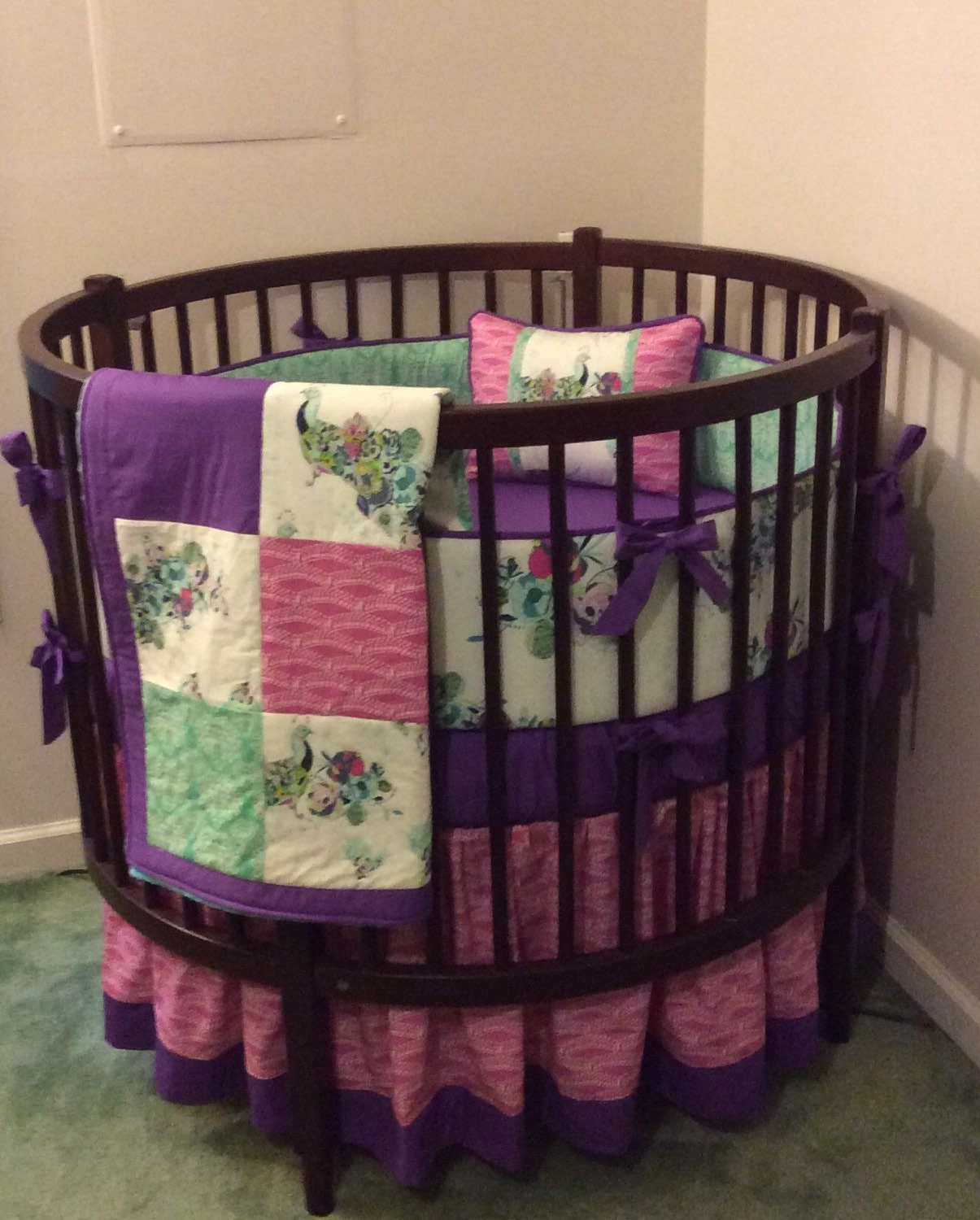 Crib bedding set gray white navy blue with by butterbeansboutique - Round Crib Bedding Set Teal Pink And Purple By Butterbeansboutique