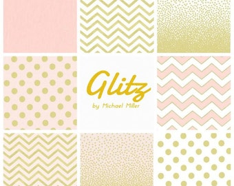 Custom Crib Bedding Set - Glitz by Michael Miller - Gold Sparkles on white, pink, or mint