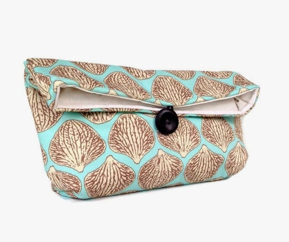 Handmade Makeup Bag, Blue and Tan Clutch Purse, Great for Travel, Beach Wedding Accessory, Summer Wedding, Gift Under 25, Bridesmaid Gift