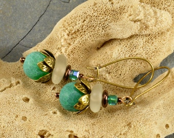 Authentic Maine icy white sea/beach glass dangle earrings with nile green agate beads and bronze flower petal beads