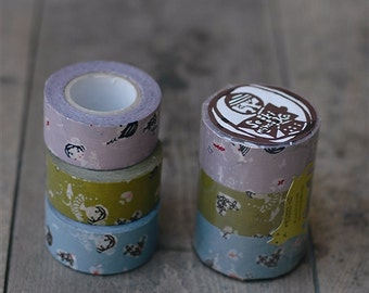 classiky - japanese masking tape 3 piece set - lady- olive green, purple and blue
