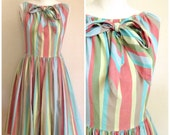 Vintage 1950s Mindy Ross Circus Striped Dress