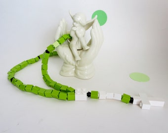 Catholic Rosary - Kids Rosary made of  Lego Bricks - Lime Green and White Rosary