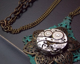 Steampunk Necklace Vintage Watch Movement Aqua Pendant Brass Jewelry Flower Necklace Victorian Jewelry