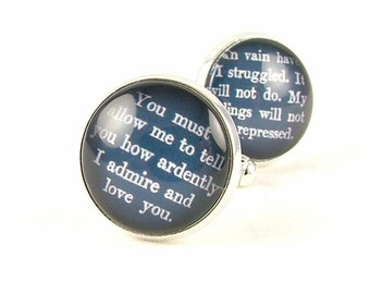 Men Cufflinks - Jane Austen Quote  - Wedding Cufflinks - Groom Cuff Links - Gift For Groom - Anniversary Gift - Unique Gifts For Men
