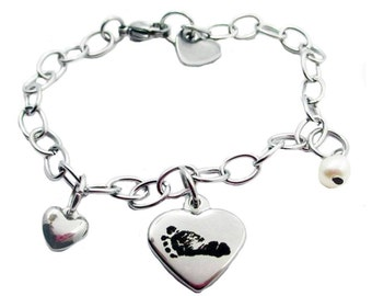 Footprint Heart Charm Bracelet with your baby's actual footprint, stainless steel