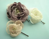 Hair flowers, set of bobby pins in victorian lilac, blush dusty pink, ivory and pinstripes, wedding antique style rhinestones and pearls