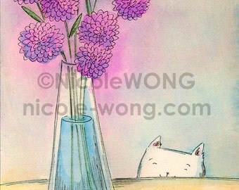 Original 4x6 Painting -- Purple flower vase
