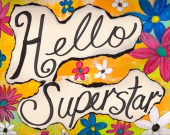 """Hello Superstar 5""""x7"""" Blank All Occasion Card with Envelope, Hello Card, Hello Collection, Wholesale Greeting Cards, Hello Stationery"""