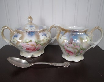 Antique Porcelain Creamer Sugar Bowl and Spoon - Dainty Pink Rose Transfer - Made in Germany
