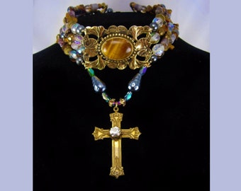 Gothic Goddess Rosary Necklace Talisman  Semiprecious lovelies genuine pearls paste cross