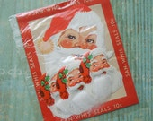 Vintage Santa Christmas Seals Cotton Beards Sealed Package NOS