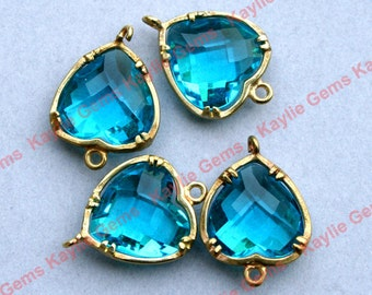 Blue Zircon  Heart 12x16mm Connector Link Charm Faceted Glass Jewel Brass Setting, Hand Set by Me, Proudly Made in Virginia, USA - 2 pcs