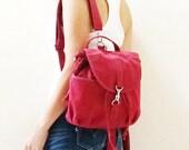 New Year SALE - 20% OFF Kinies Mini Backpack in Dark Red / Sling / Messenger / Shoulder Bag / Barrel Bag / Rucksack / Kid / Women / For Her