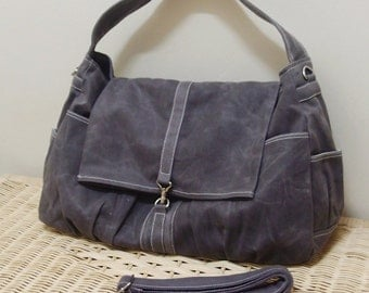 Halloween SALE - 20% OFF Classic in Waxed Canvas Gray  / diaper bag / Shoulder Bag / Hobo / Purses / Handbags / women / For her