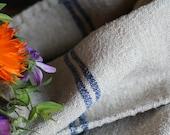 Nr. 968:  antique rustic grainsack WATER BLUE holiday feeling pillow cushion rural 44.09 long