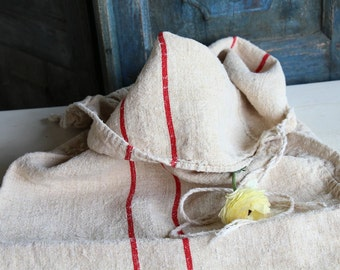 Nr. 609:  antique handloomed HAPPY RED  rural grain sack for pillows cushions runners 40.16 inches long