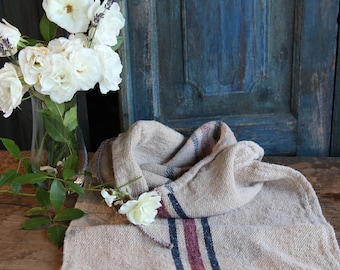 Nr. 759:  antique handloomed REDBLUE rustic grain sack for pillows cushions runners 35.43 inches long