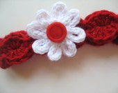 Ready To Ship - Red Crochet Baby Headband - Red Newborn Headband - Photo Prop Headband - Red and White Crochet Headband - Size Newborn