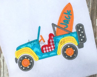Machine Embroidery Design Applique Jeep Surfboard INSTANT DOWNLOAD