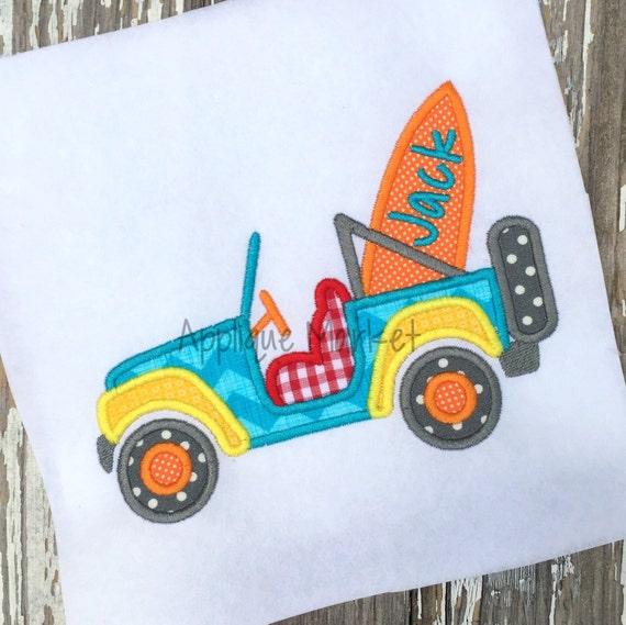 Machine embroidery design applique jeep surfboard instant