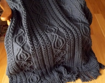 Knit Afghan Cable Abby in Charcoal