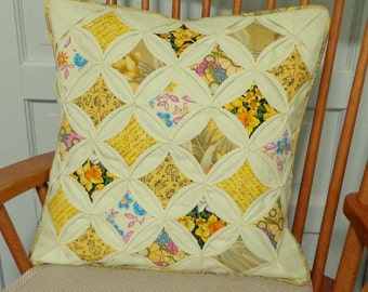 Quilted Cathedral Window Pillow Cover Yellow Floral