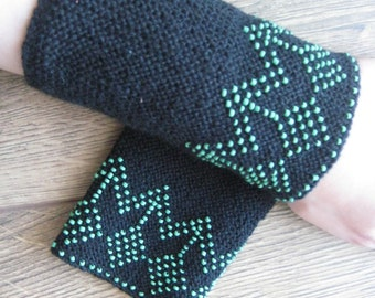 Hand knitted Lithuanian beaded black wrist warmers - green flowers - spring fashion